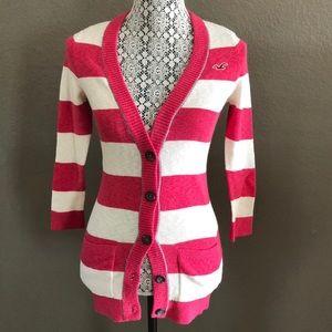 Hollister cardigan striped sweater medium